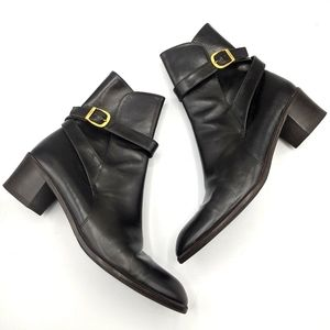 Salvatore Ferragamo Leather Heeled Buckle Boots 8